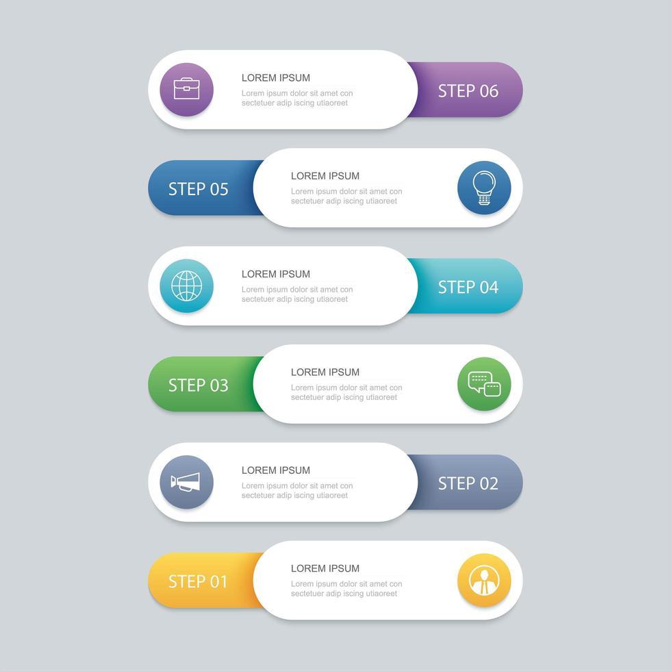 6 infographic tidslinjemall vektor