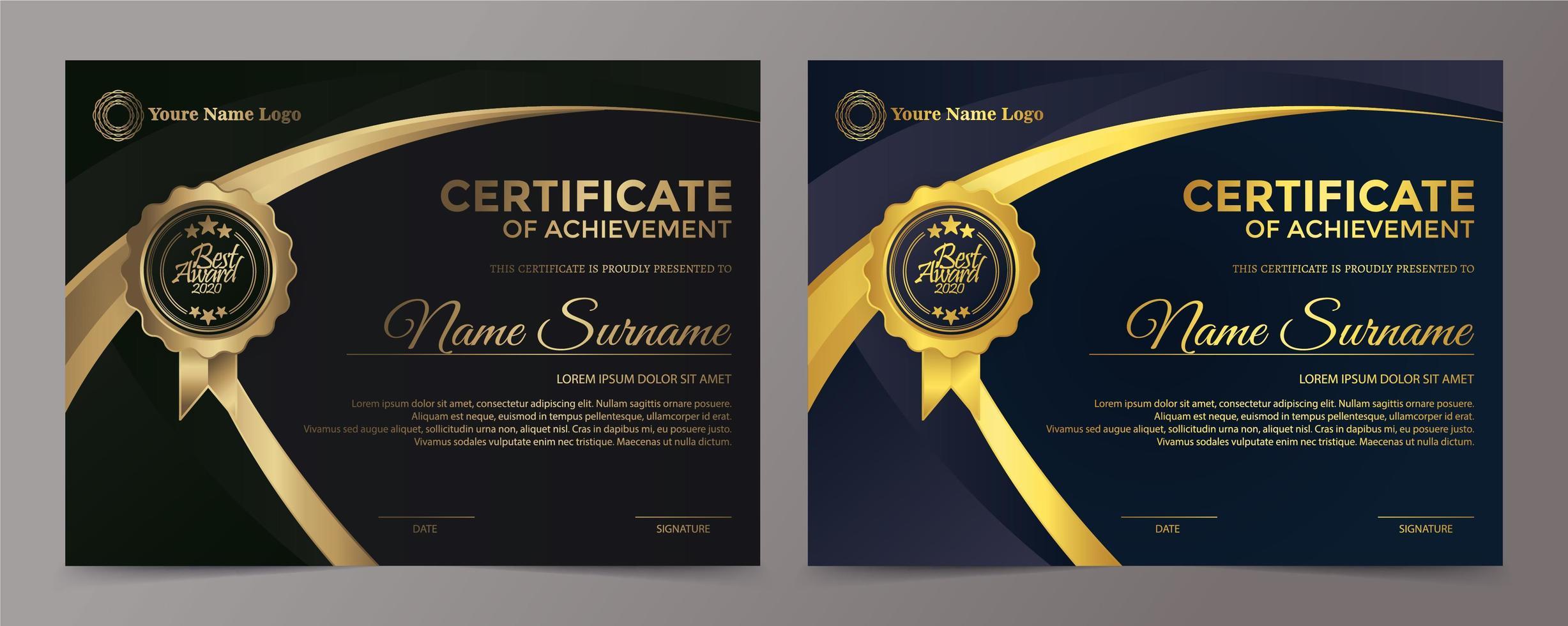 premium gyllene svart certifikat malluppsättning vektor