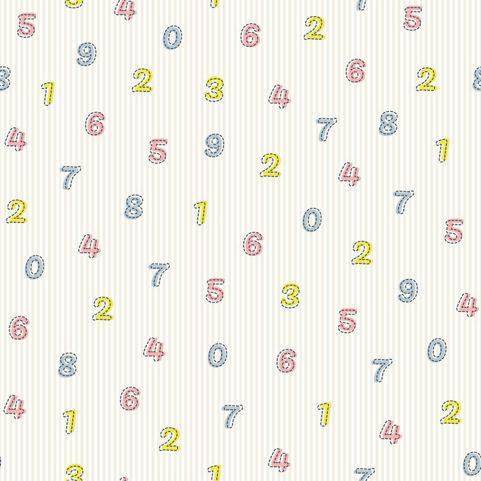 nahtloser mehrfarbiger Zahlenmusterhintergrund vektor