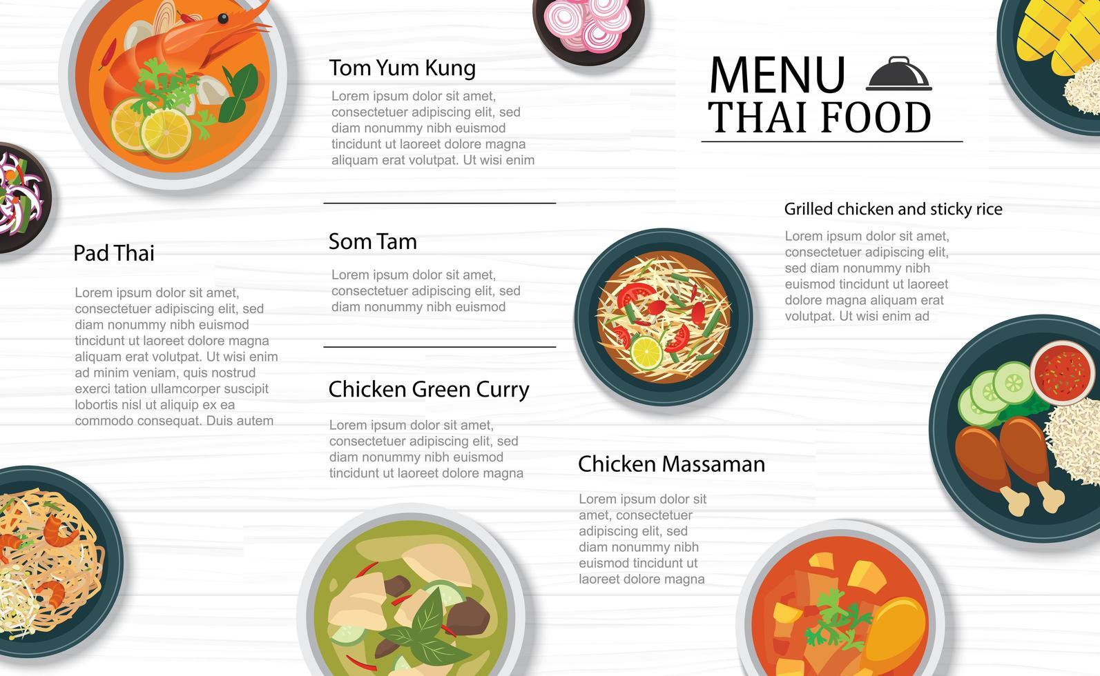 thailändsk mat meny restaurang vektor