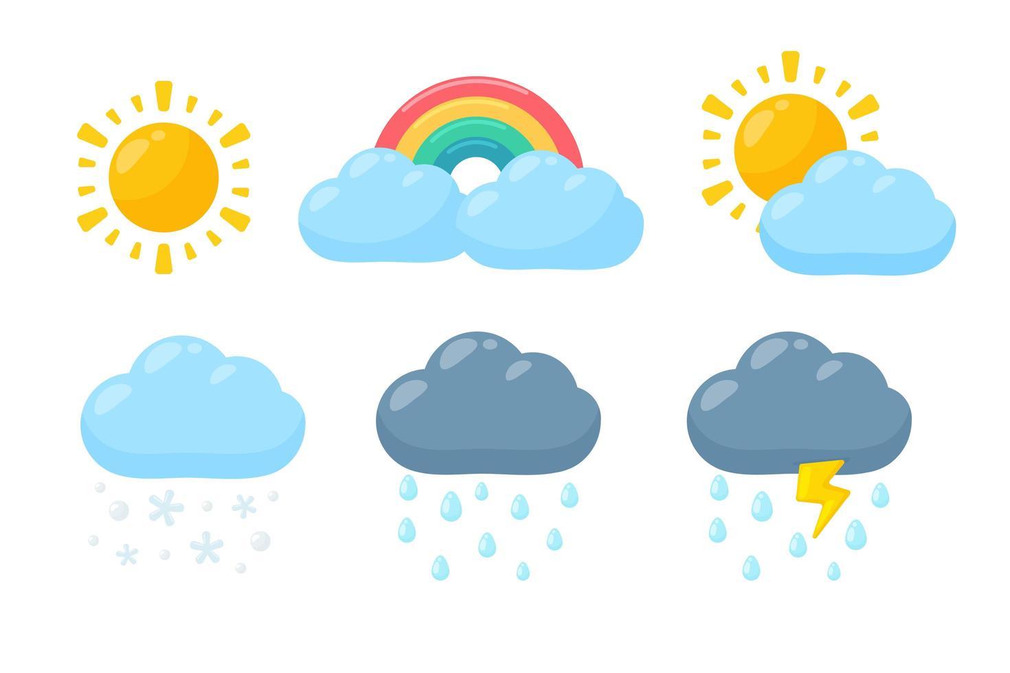 väder ikonuppsättning i tecknad stil vektor