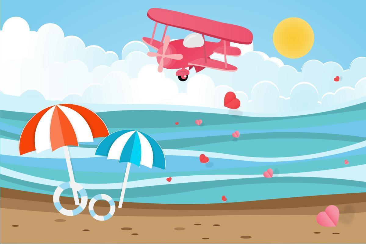 Flugzeug über Meer mit Herzen in der Luft schweben vektor