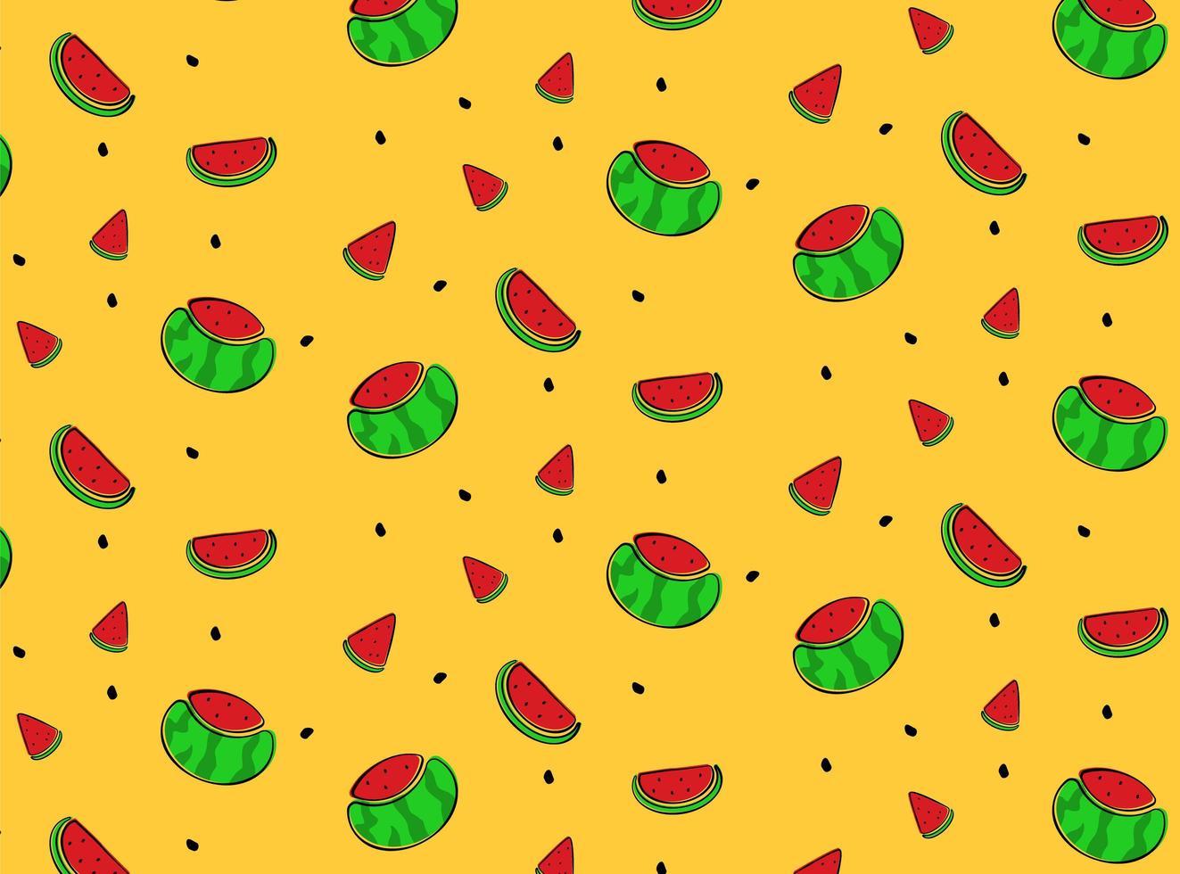 Wassermelone Hand gezeichnetes Muster vektor