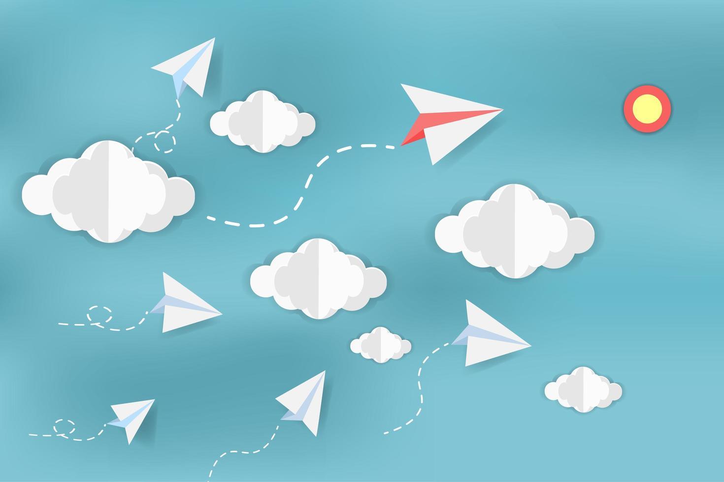 pappersflygplan på himlen med moln vektor