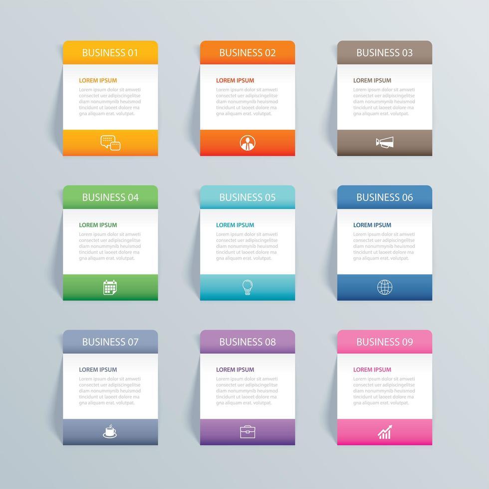 Infografiken Rechteck Papier Index mit 9 Daten vektor