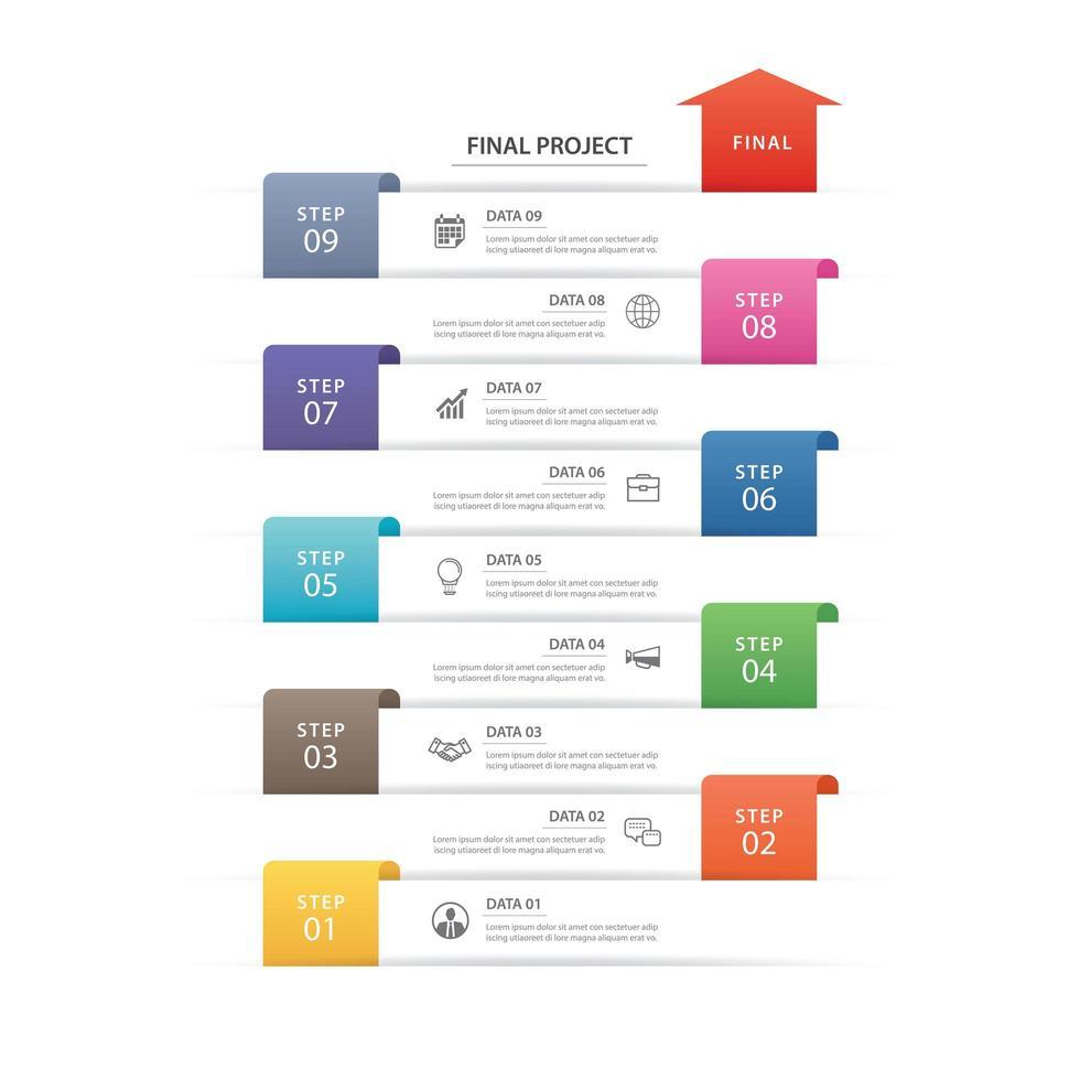 infographics tidslinje arbetsflöde vektor