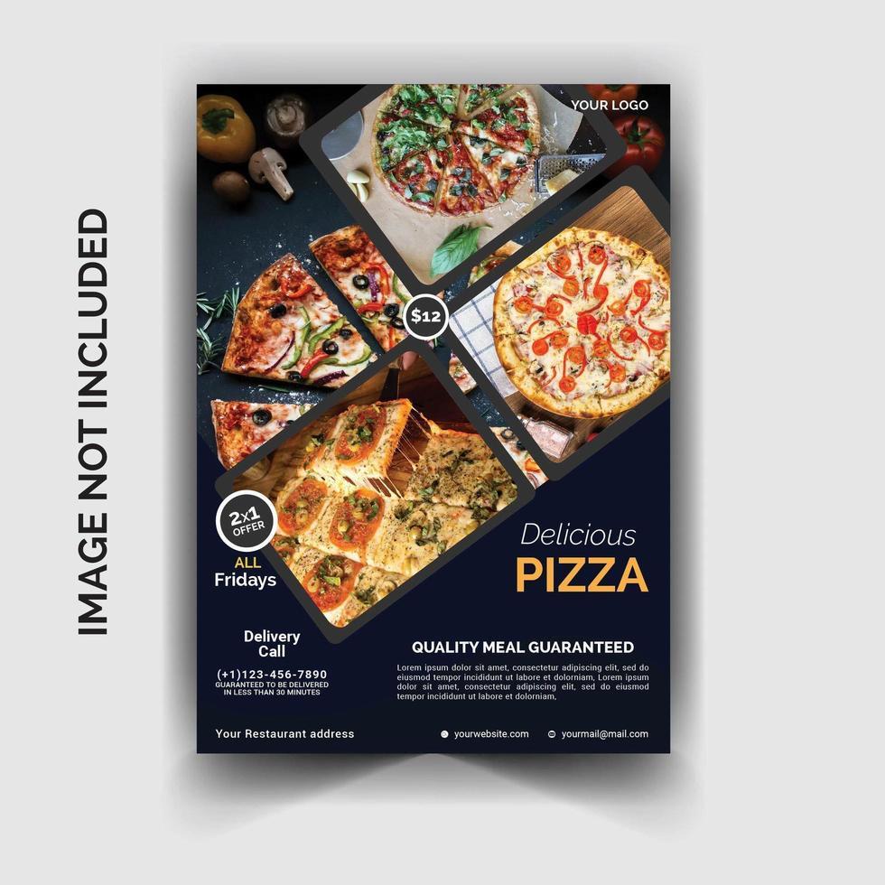 blaue Pizza Restaurant Flyer Vorlage vektor