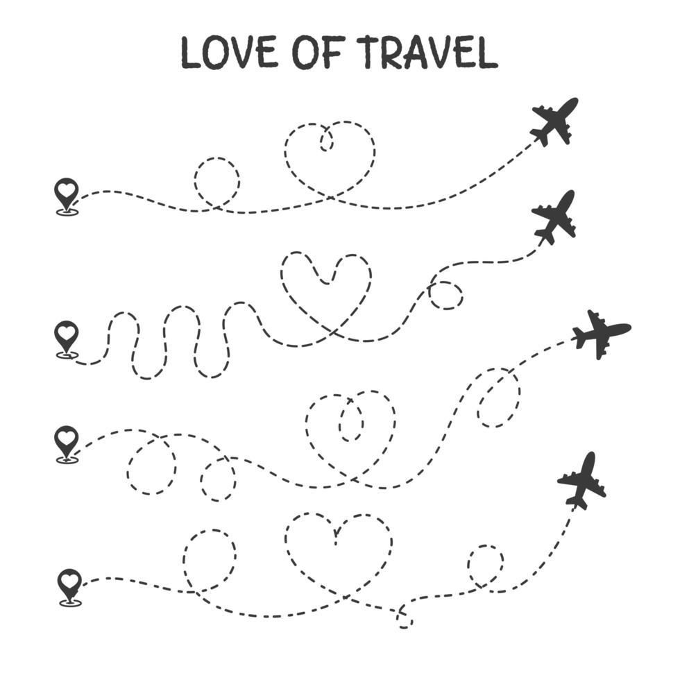 liebe es, Ikonen zu reisen vektor