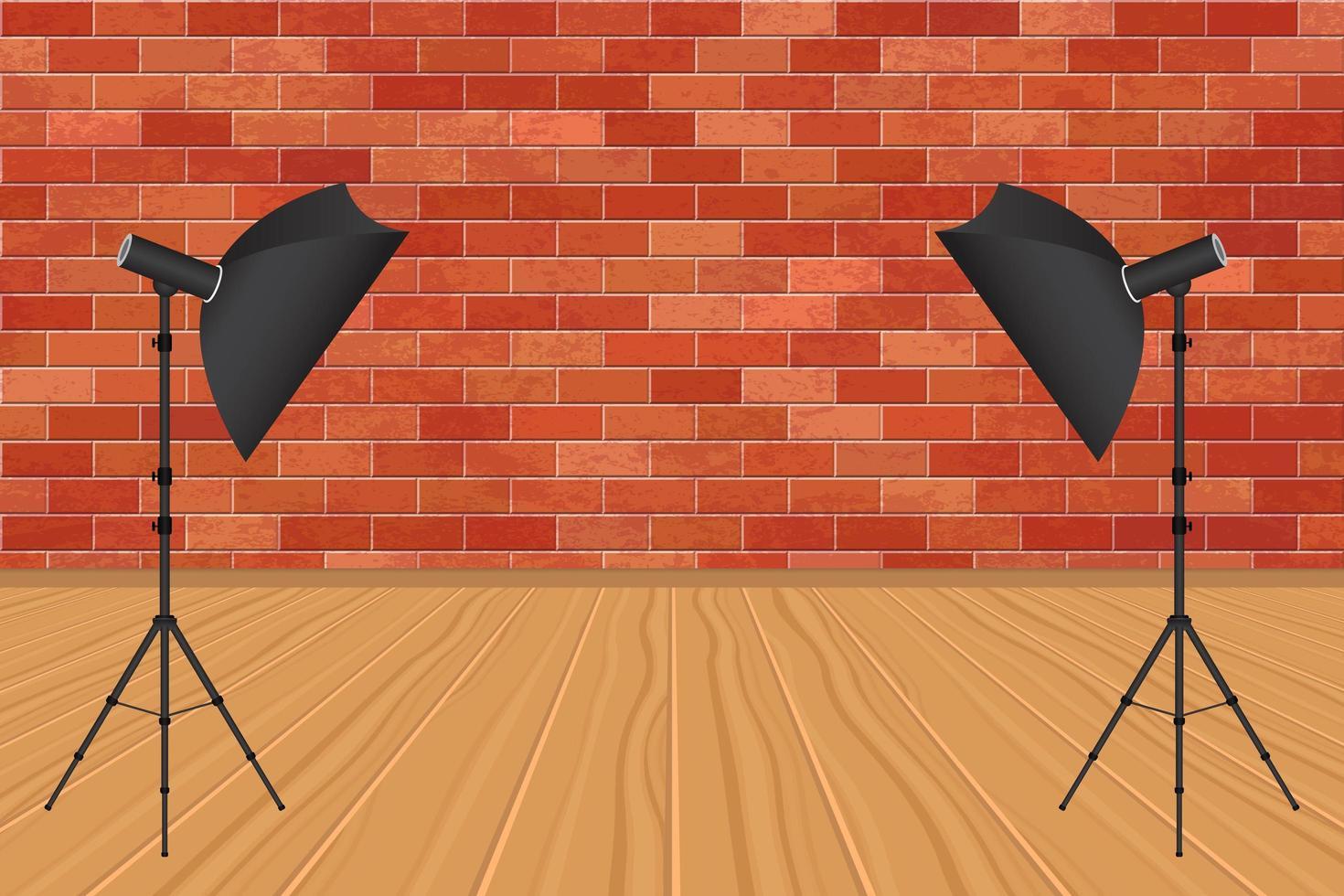 fotostudio med fotografiparaply och tegelvägg vektor
