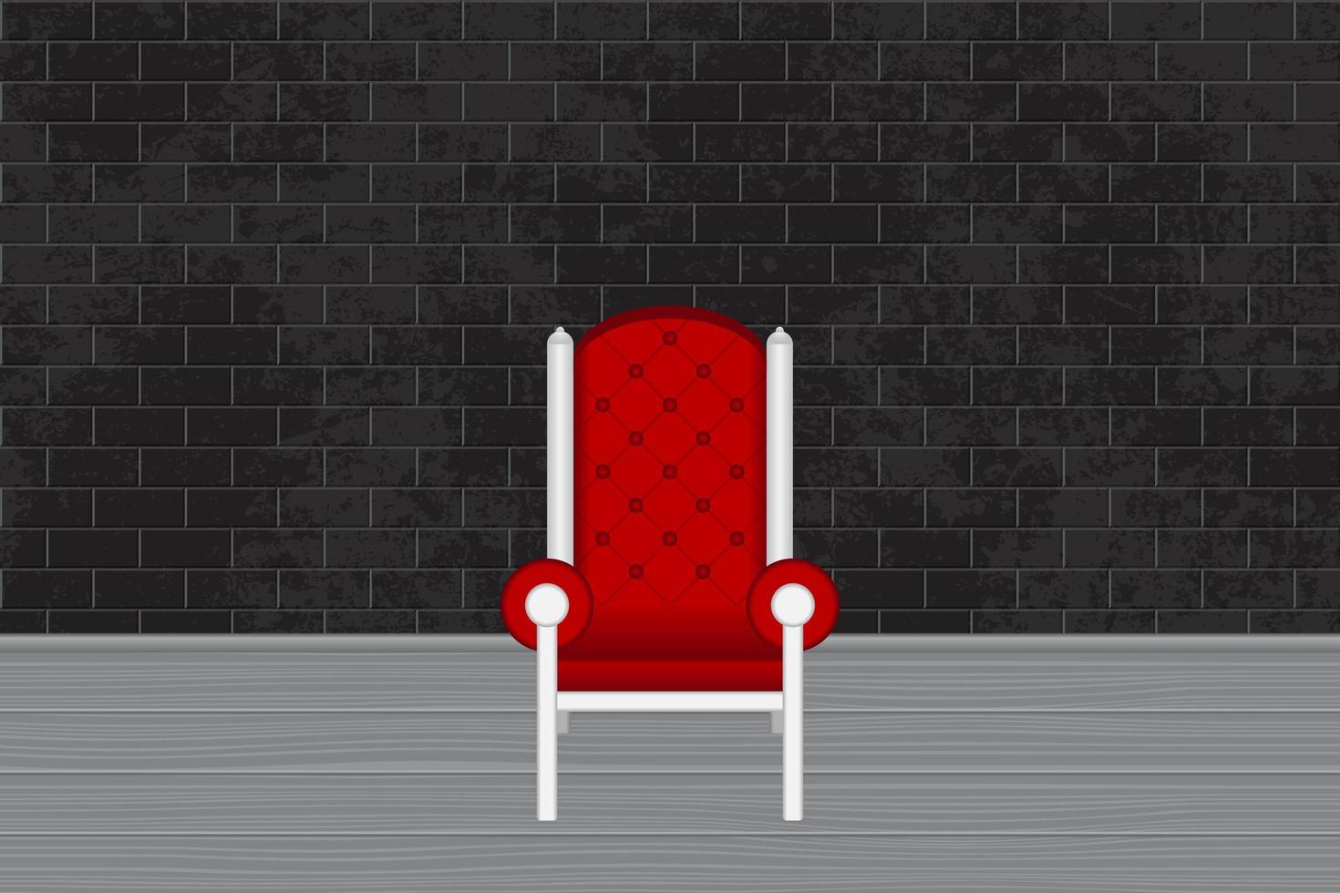 Fotostudio mit rotem Stuhl und grauer Backsteinmauer vektor