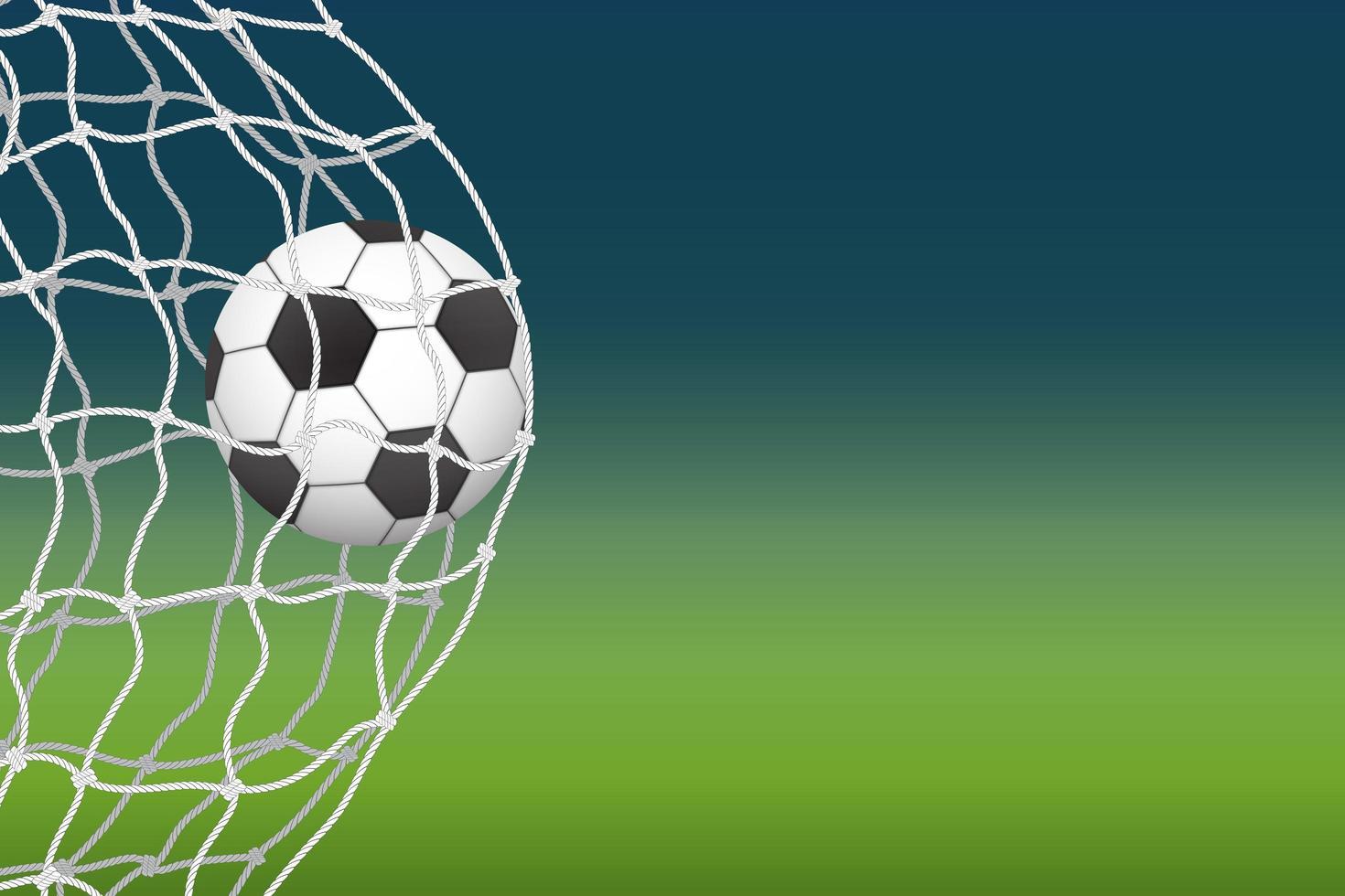 Fußball betritt das Netto-Tor vektor