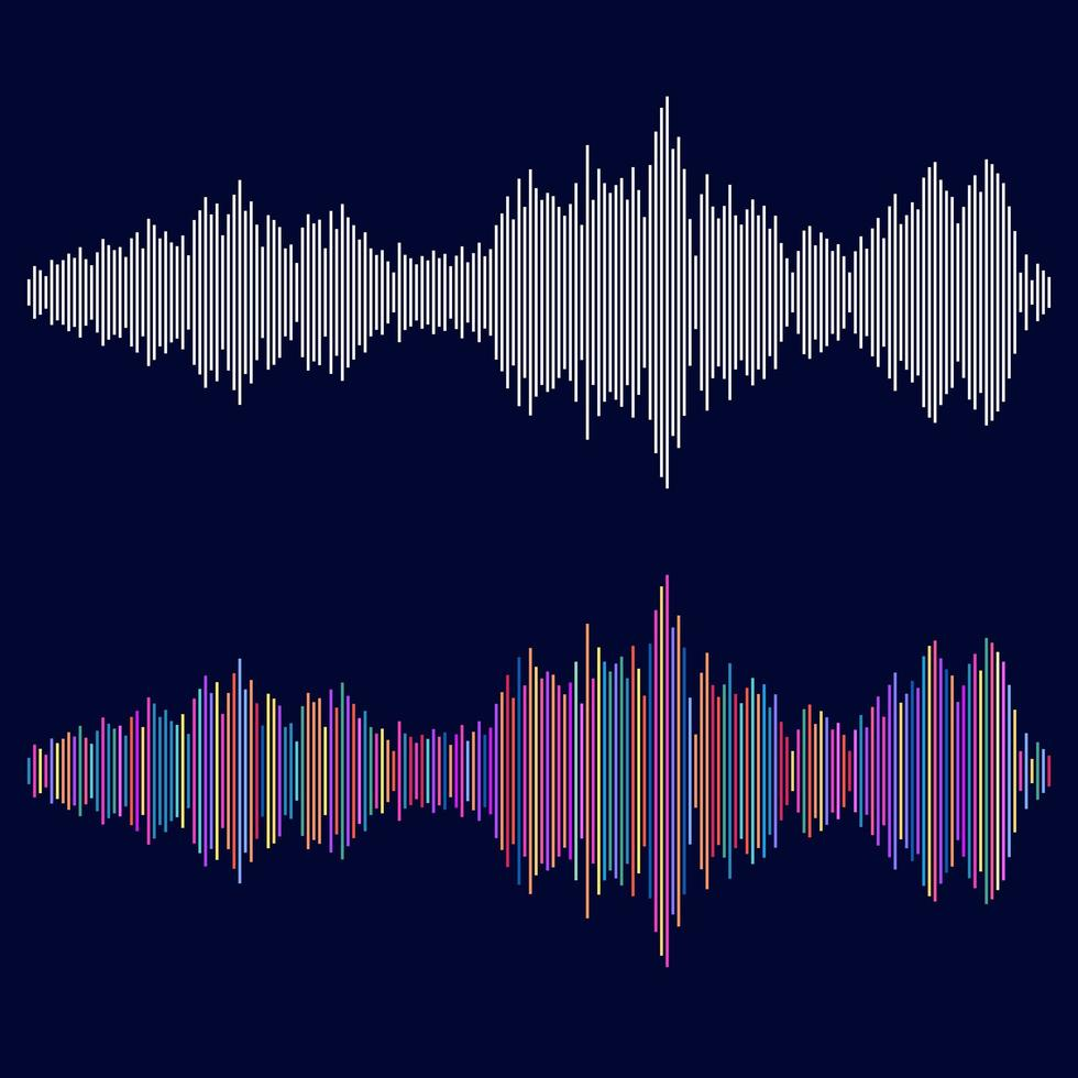 ljudvågor ställer in multicolor vektor