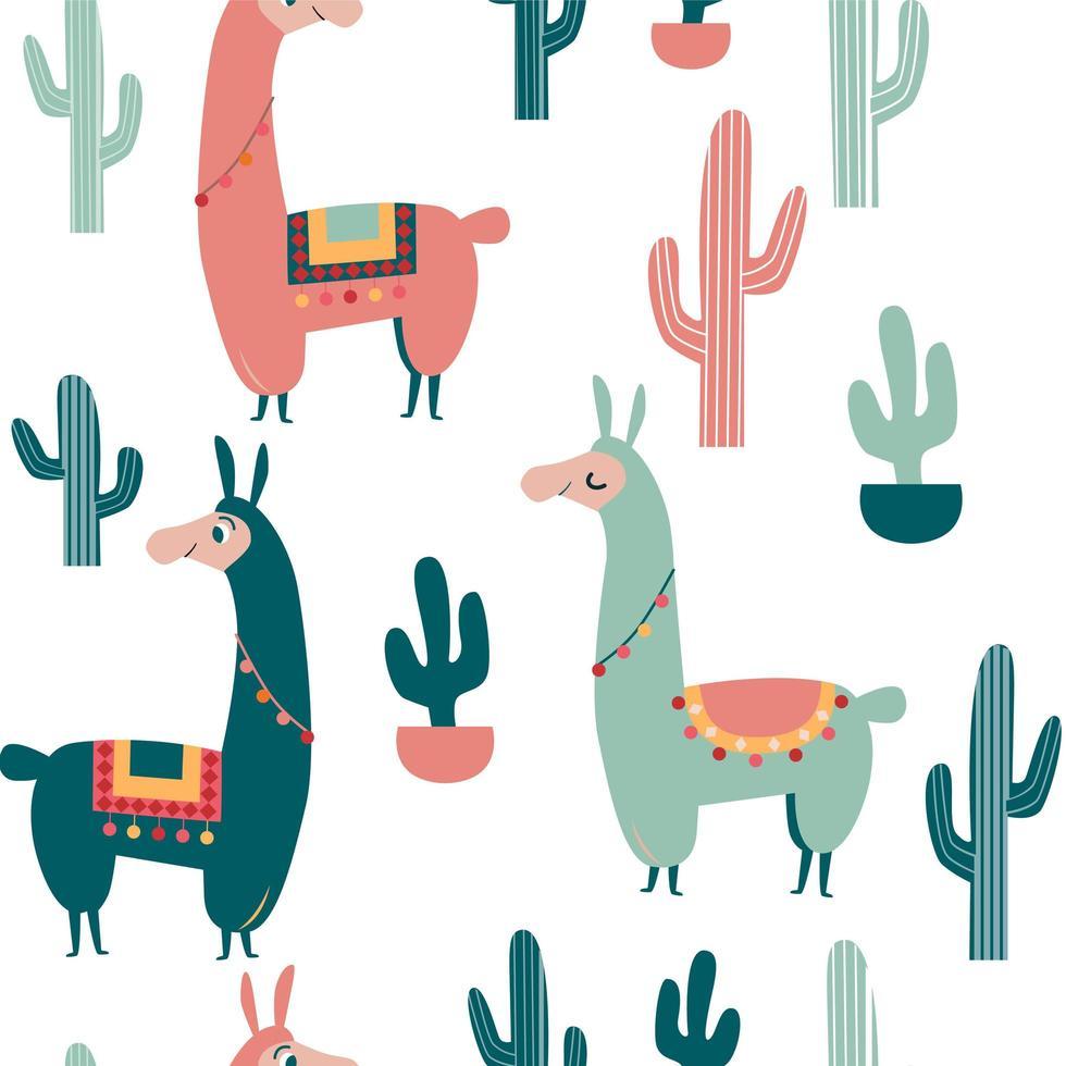 söt vektor alpakka och kaktusmönster
