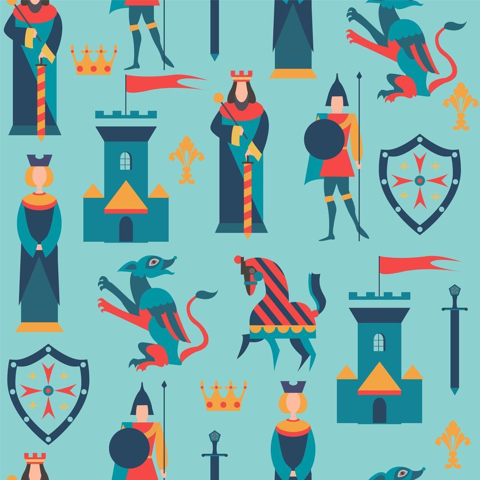 sömlösa mönster med kungariket element vektor