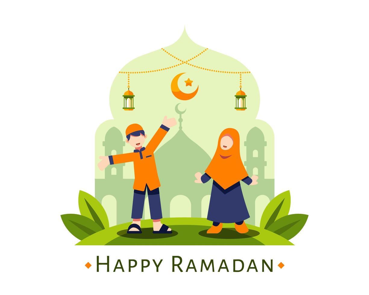 glücklicher Ramadanhintergrund mit niedlichen muslimischen Kindern vektor