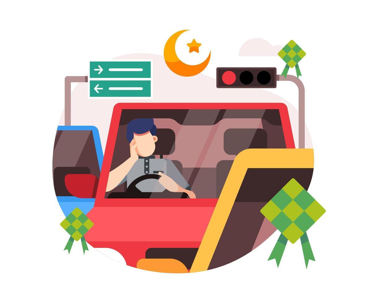 Ein Mann ist aufgrund des EID-Verkehrs auf einer Autobahn im Stau vektor