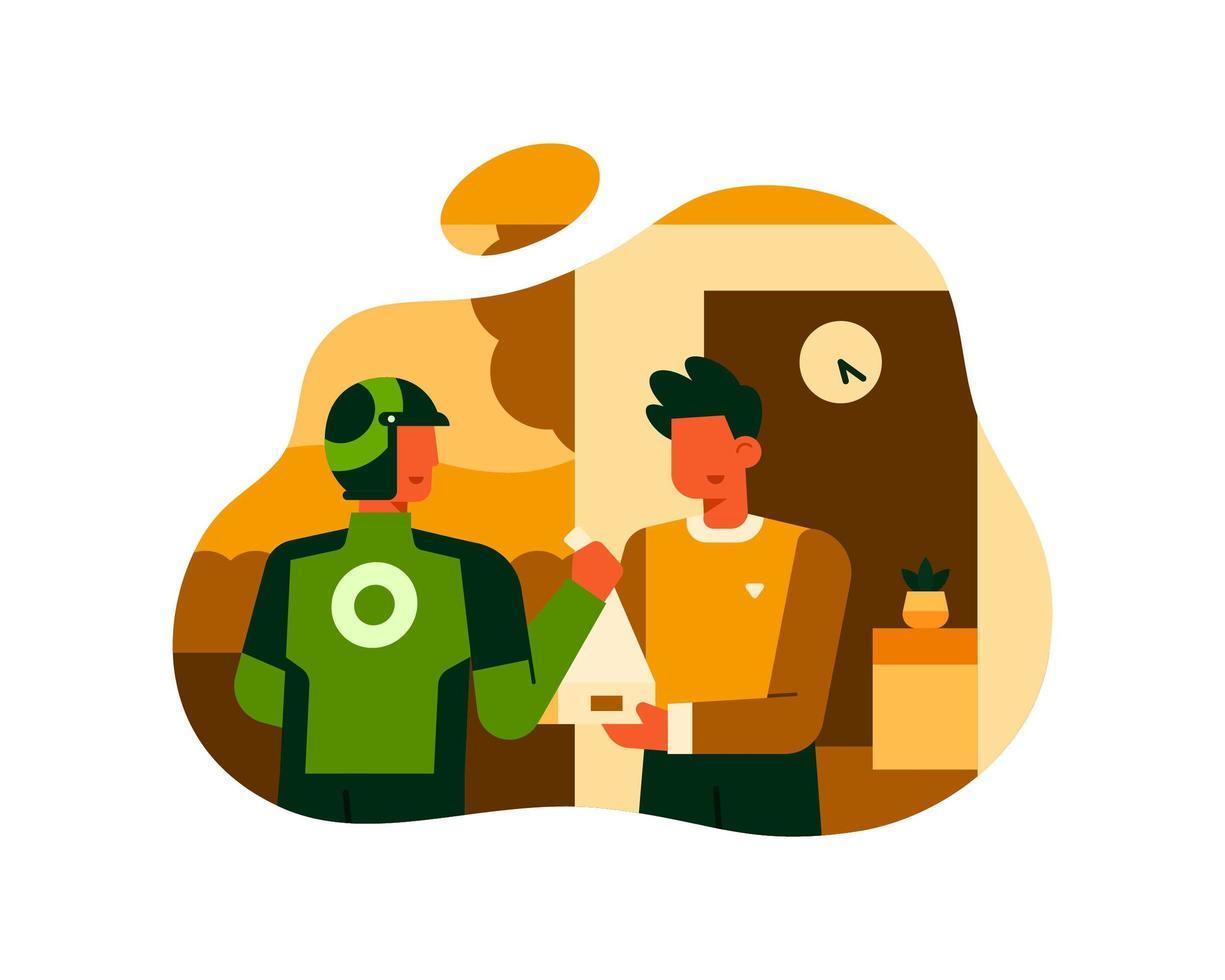 en man beställer mat med hjälp av en matleveransservice vektor
