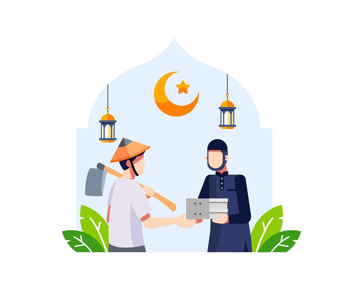 Ramadan Hintergrund mit einem jungen muslimischen Mann, der Essen spendet vektor