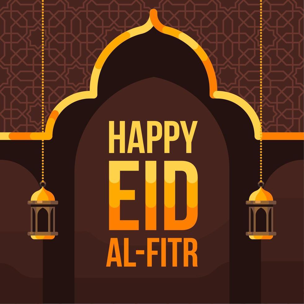glad eid al fitr bakgrund med moské siluett vektor