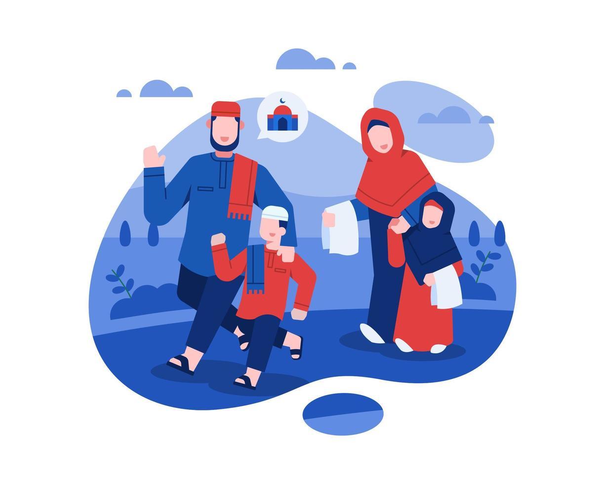 eid al fitr Design mit muslimischer Familie zur Moschee gehen vektor