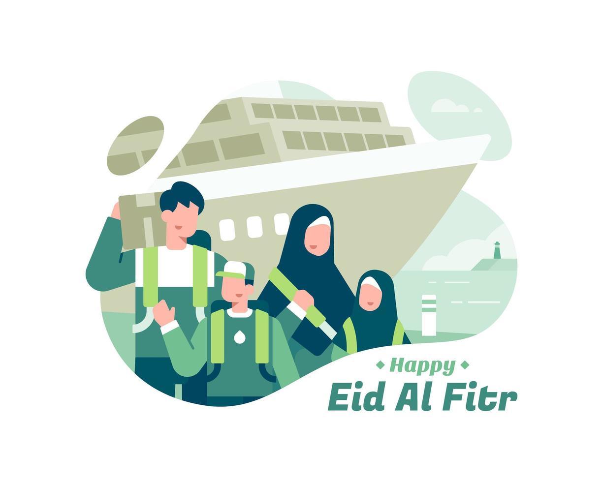 glücklich eid al fitr mit muslimischer familie vor schiff vektor