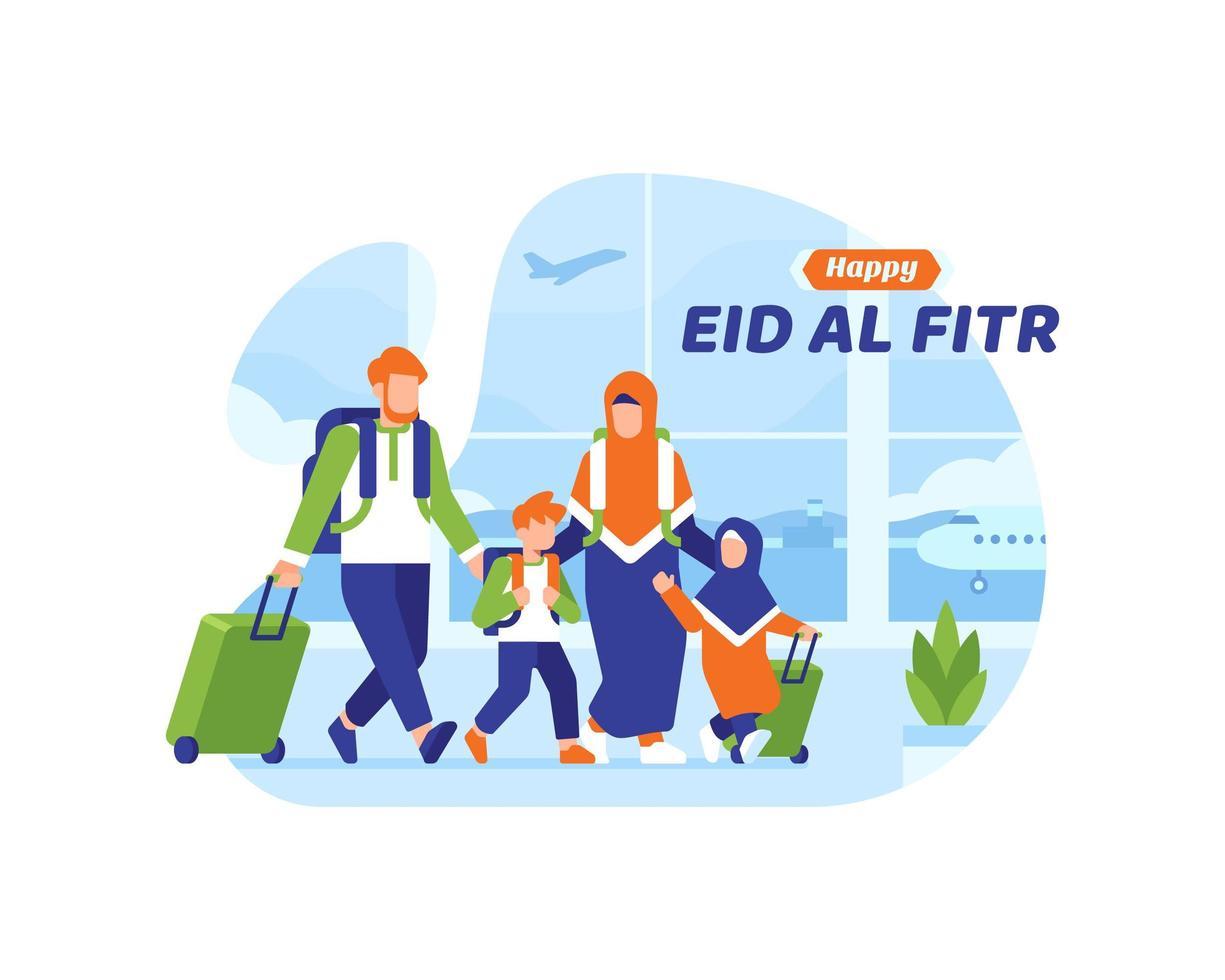 glad eid al fitr bakgrund med muslimsk familj som går ombord på ett plan vektor