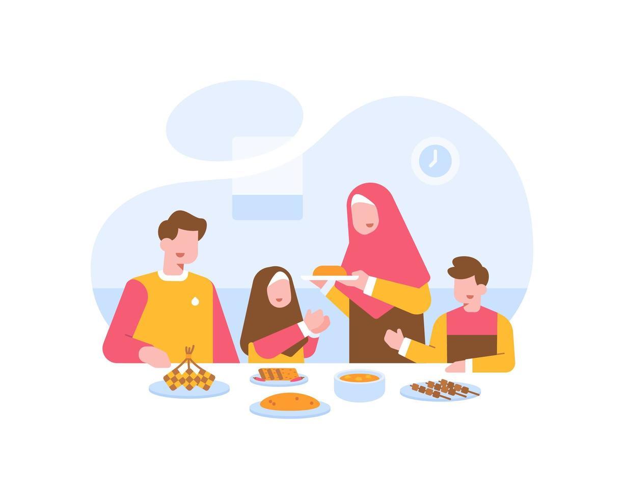 muslimische Familie, die zusammen am Esstisch isst vektor