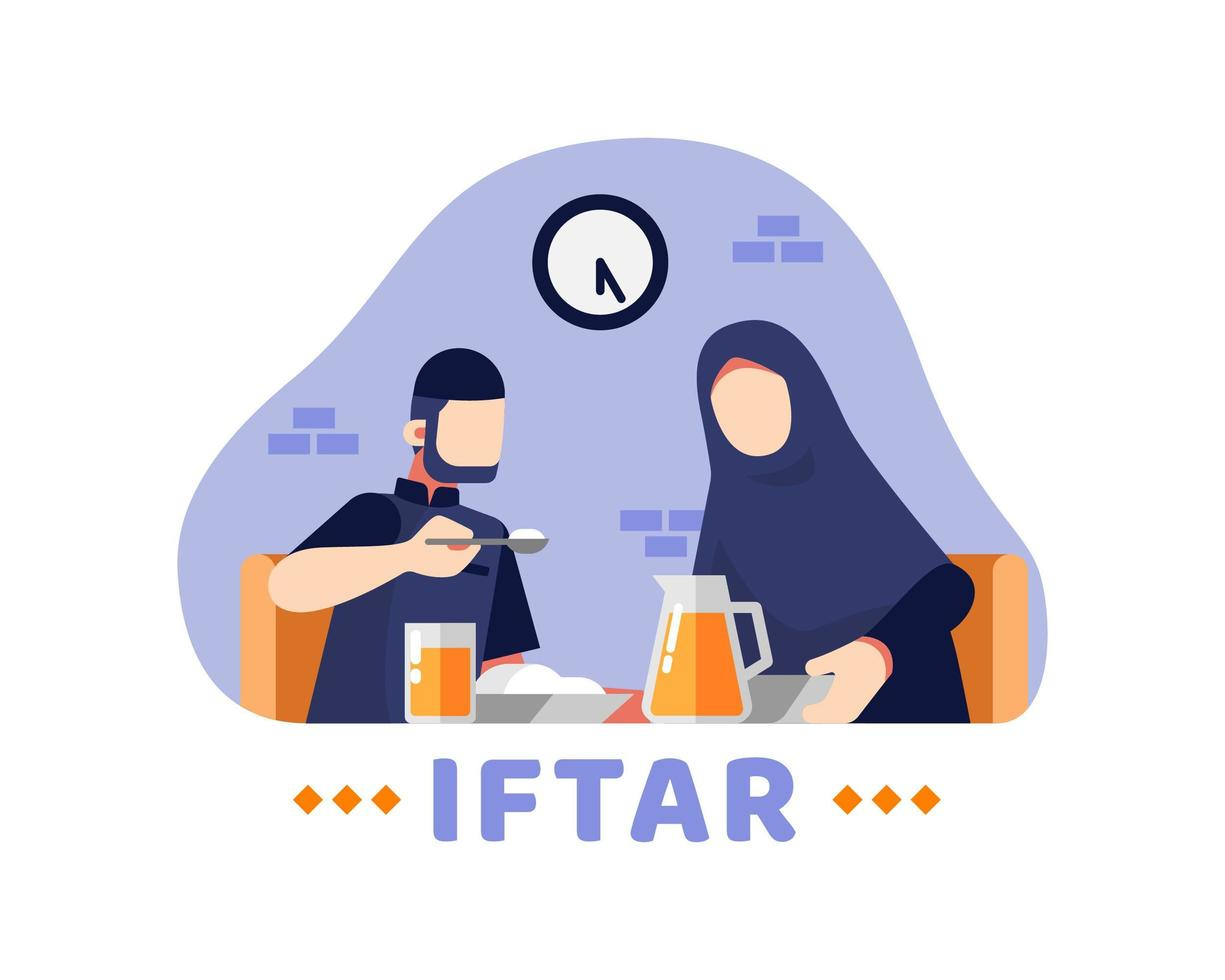Iftar Hintergrund mit muslimischen Paaren, die zusammen am Tisch essen vektor