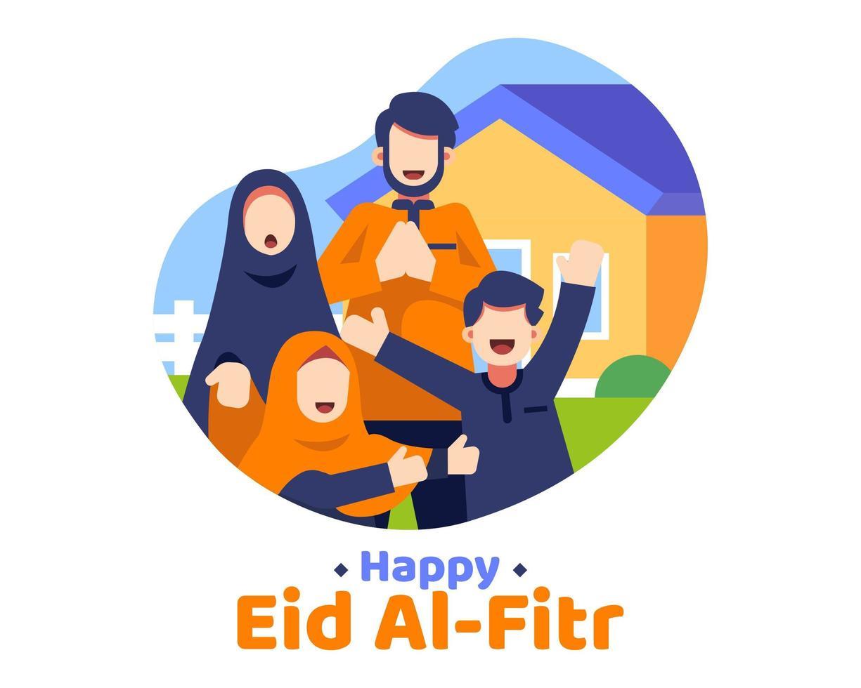 glad eid al fitr bakgrund med muslimsk familj framför huset vektor