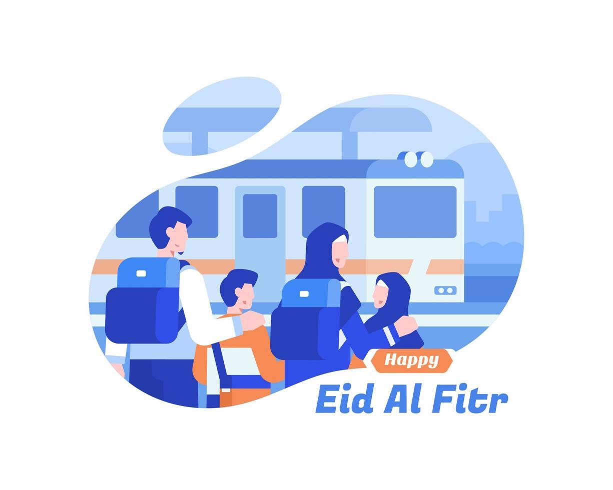 glad eid al fitr bakgrund med muslimsk familj på tågstationen vektor