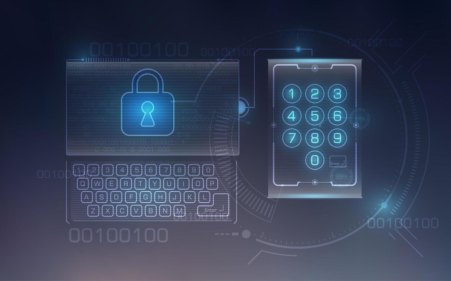 säkerhetselement för digital teknik vektor