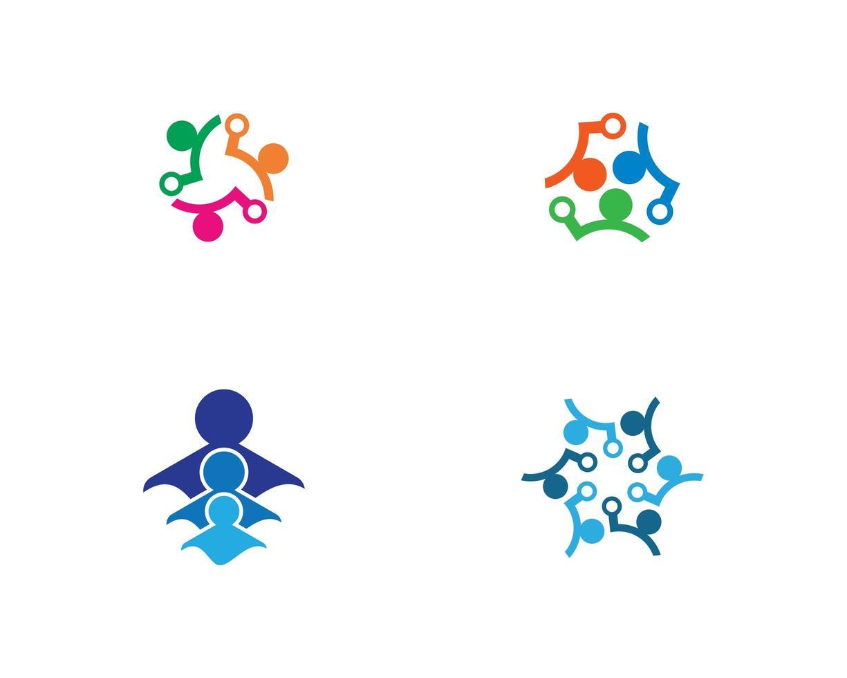 färgglada community länk logotyp Ikonuppsättning vektor