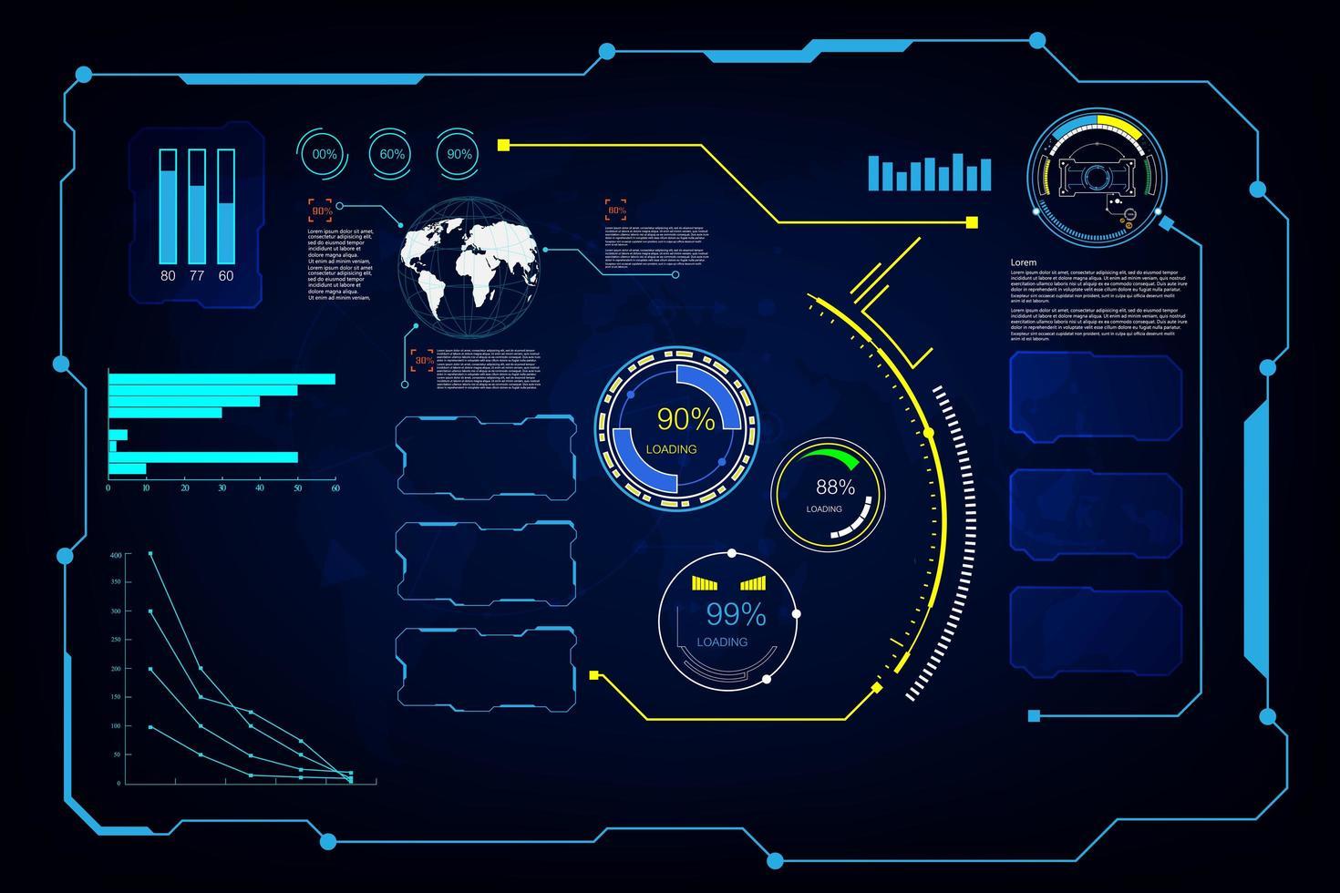 futuristisches Bildschirmsystem eingestellt vektor