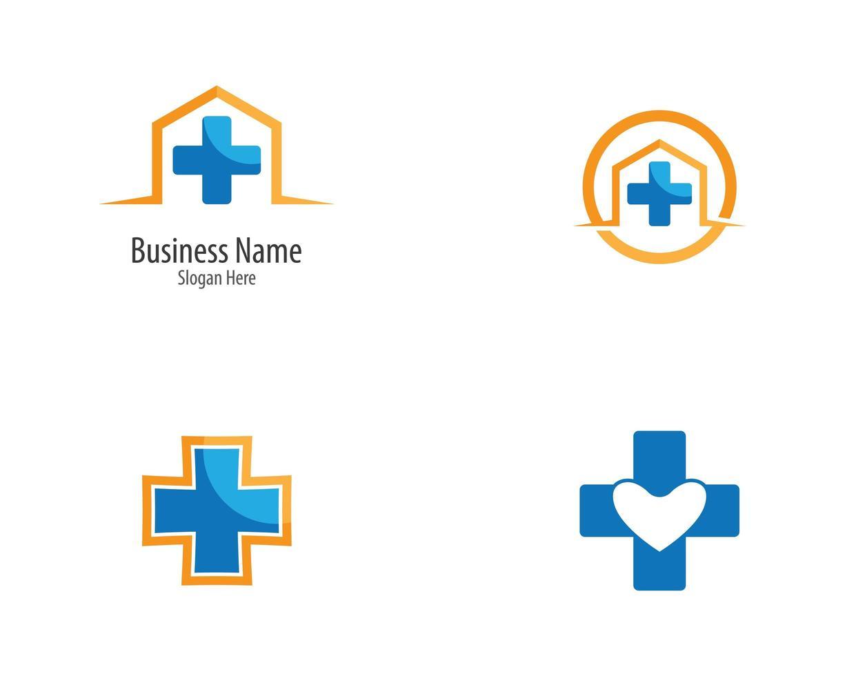 blaues und gelbes medizinisches Logo gesetzt vektor