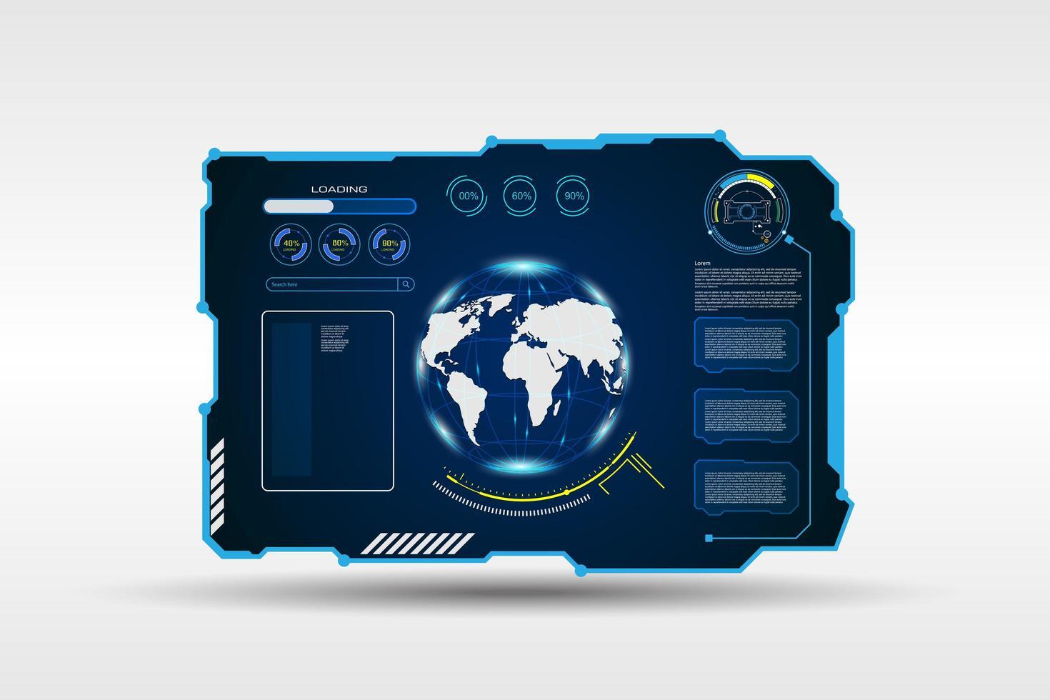 Weltkarte digitaler Rahmen gesetzt vektor