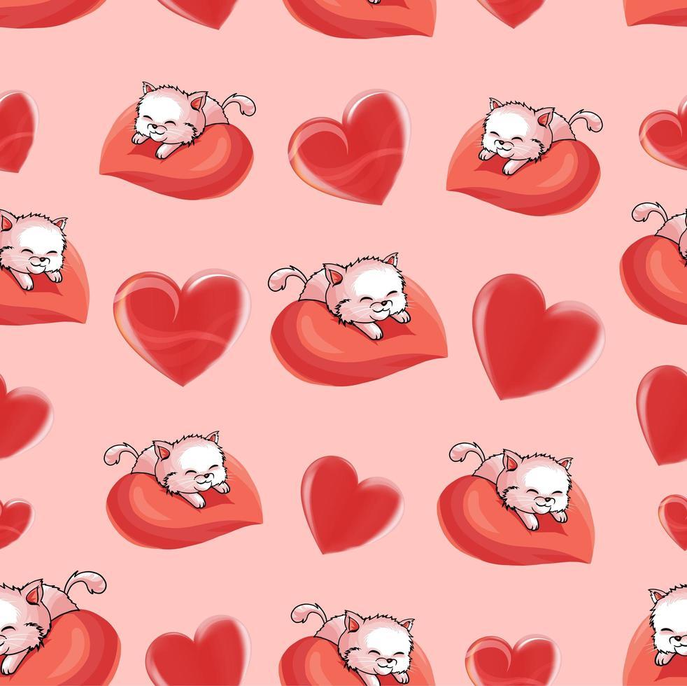 schönes Valentinstagherz mit Katzenmuster vektor
