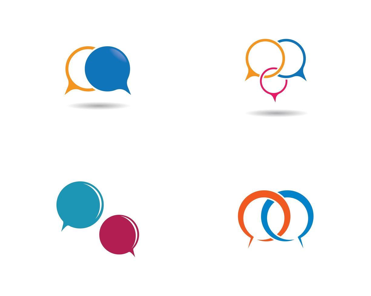 färgad pratbubblas logotypuppsättning vektor