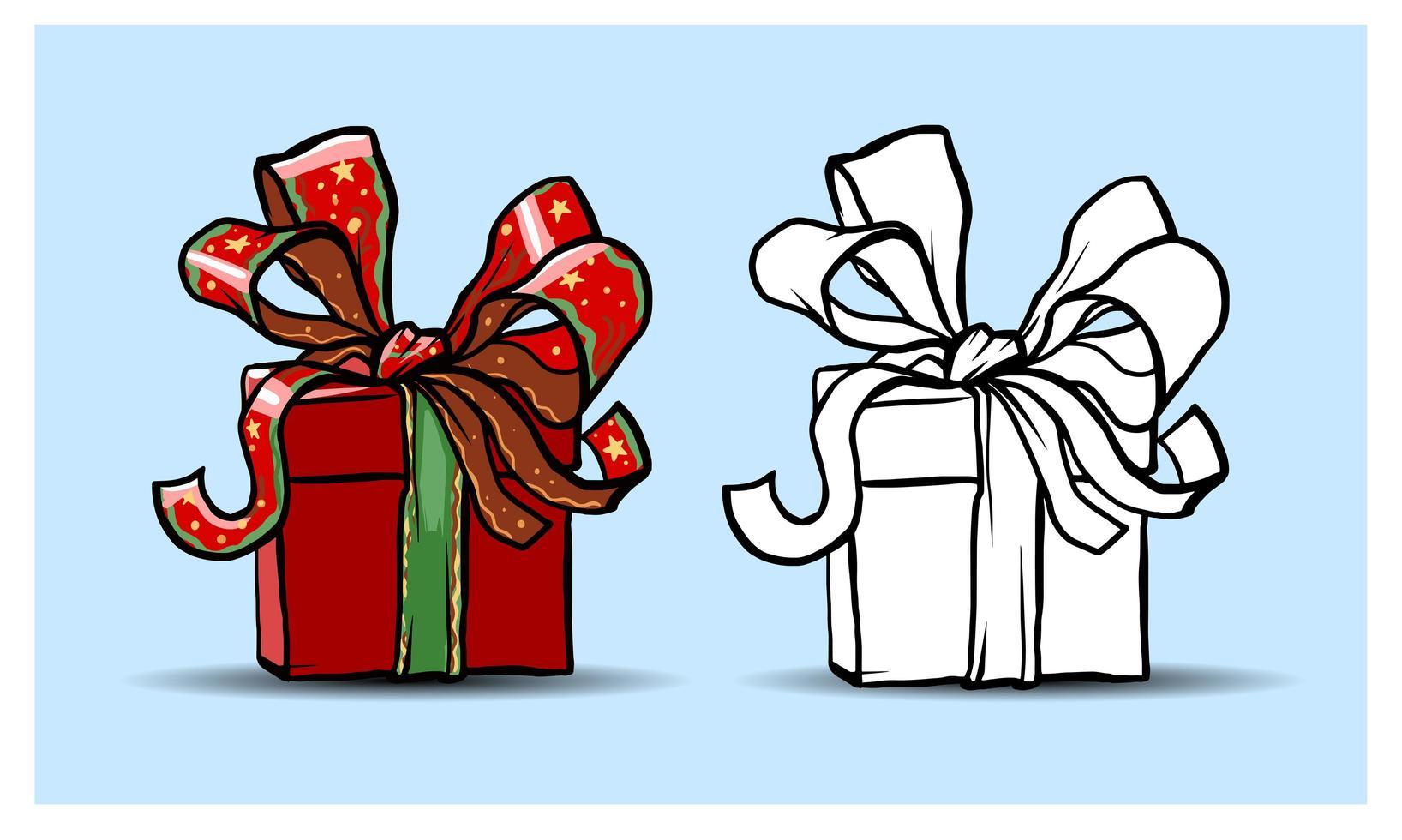Weihnachten isolierte Elemente. Geschenkbox. Cartoon, bunt und Kontur. skizzieren. vektor