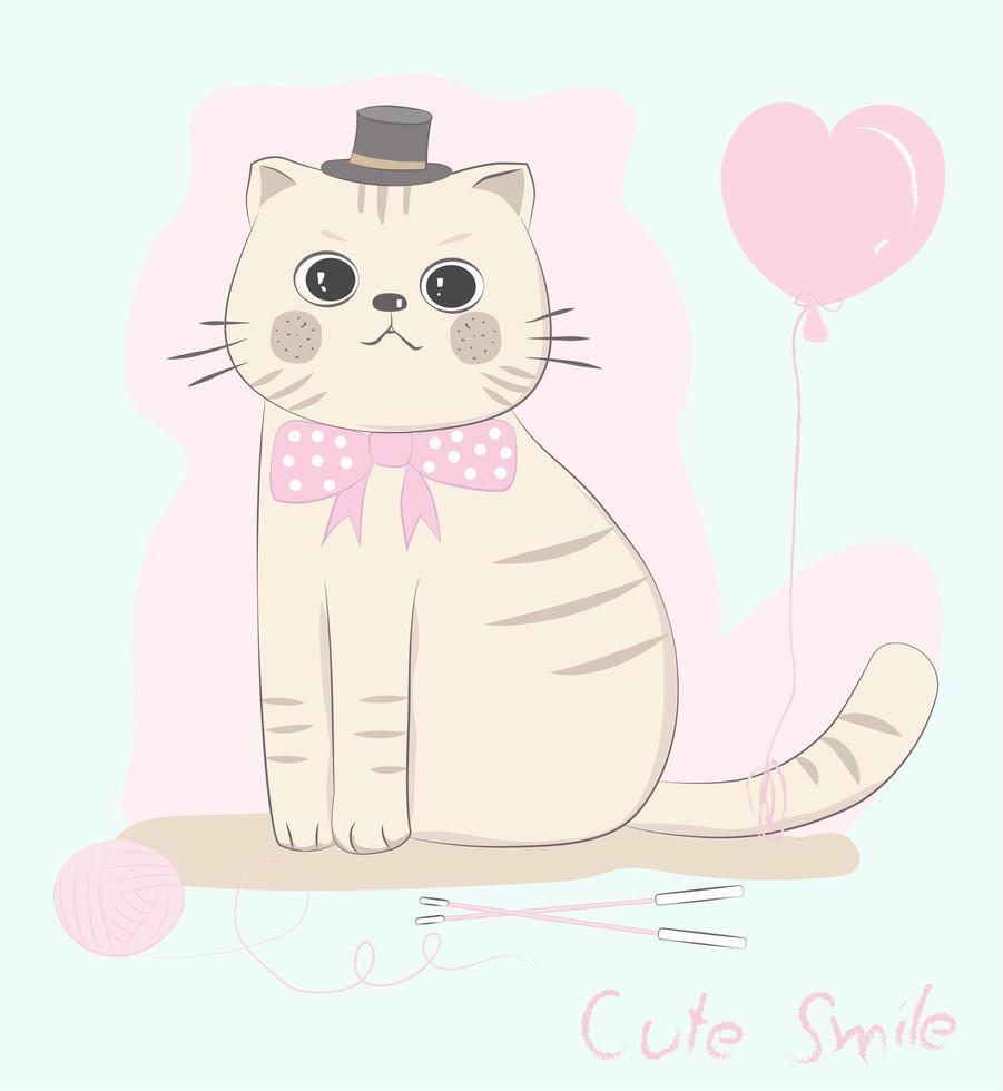 katt med fluga med rosa hjärtballong vektor
