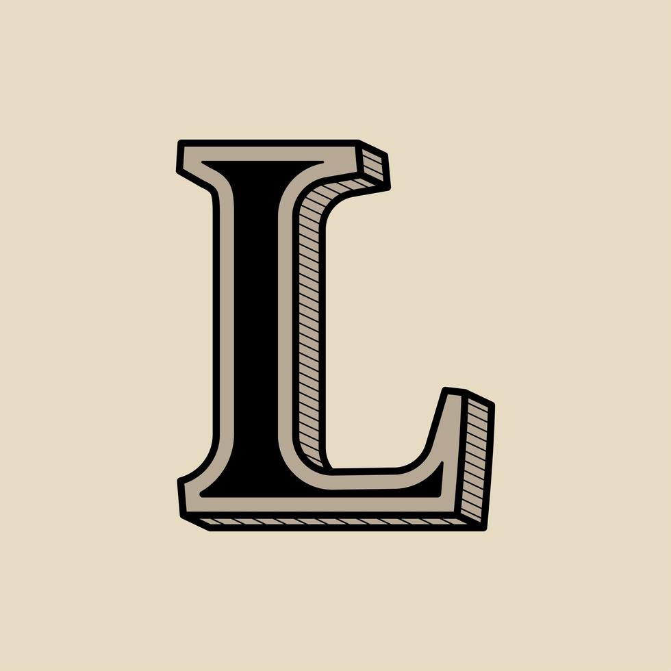 versaler l vintage typografi vektor