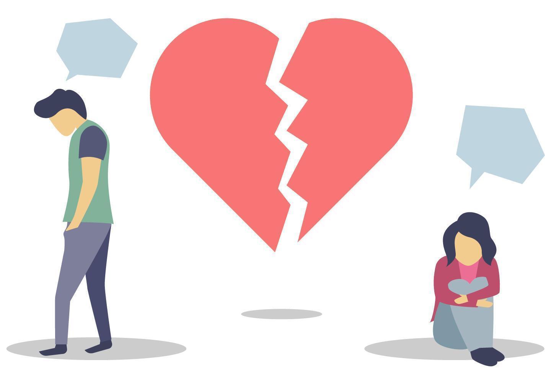 Illustration von Menschen mit gebrochenem Herzen vektor