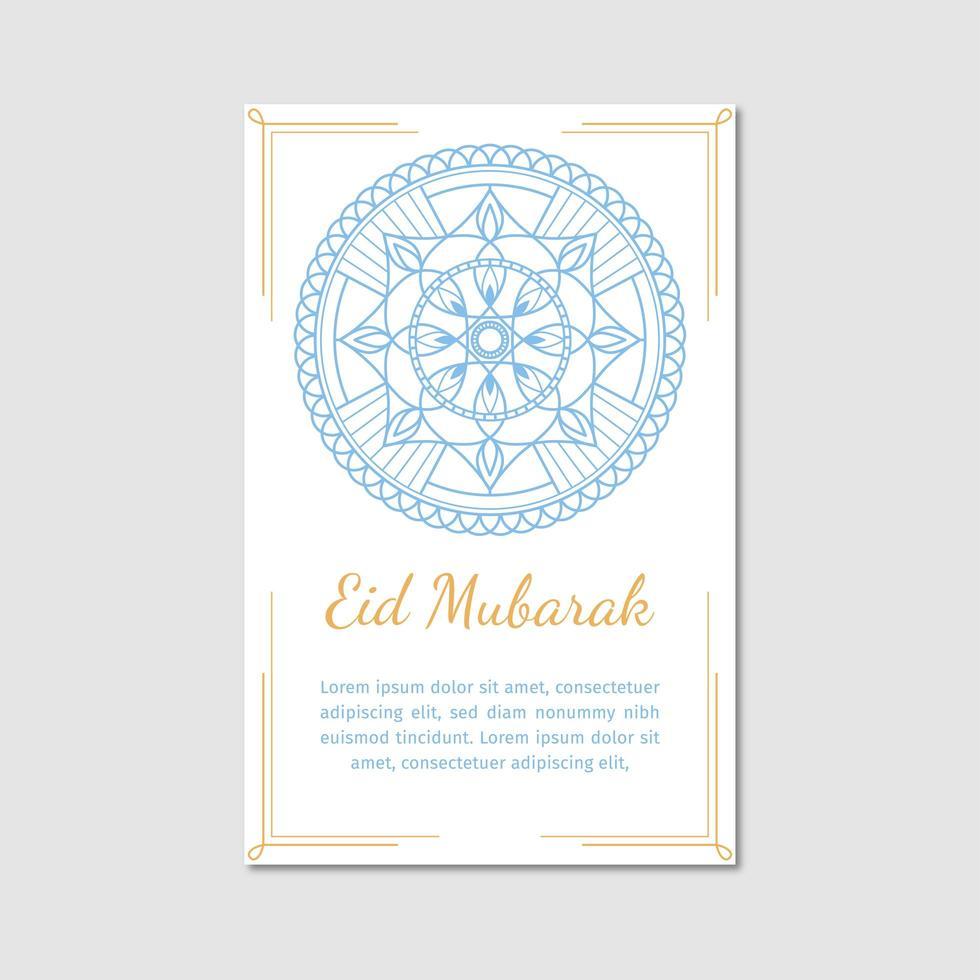 weiße Eid Mubarak Karte vektor