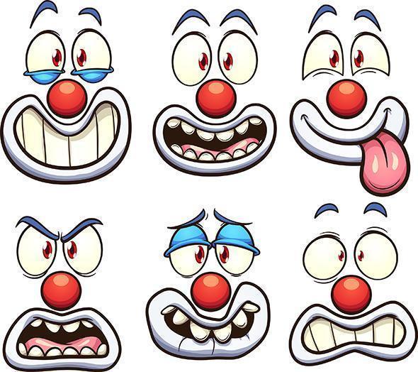 Clownsgesichter gesetzt vektor