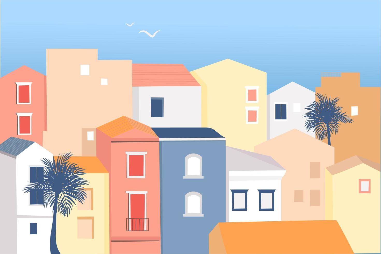 liten italiensk kuststad med färgade hus vektor