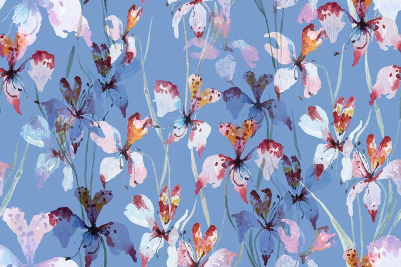 akvarell orkidé sömlösa mönster vektor