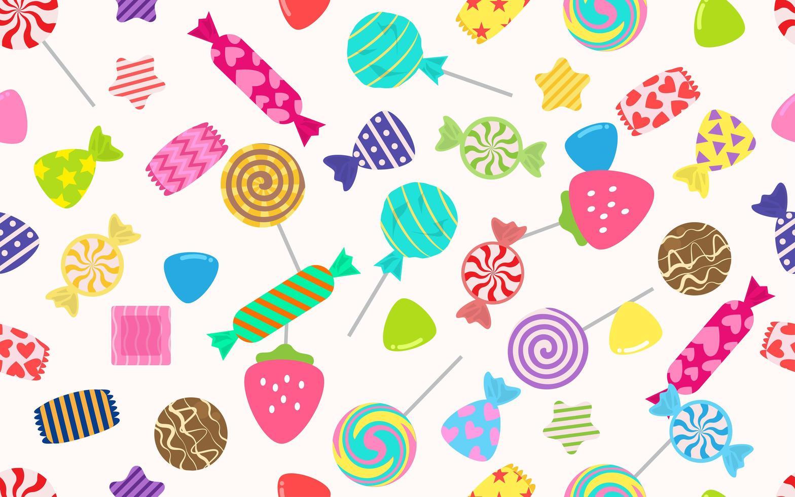 sömlösa mönster av godis och jordgubbar vektor