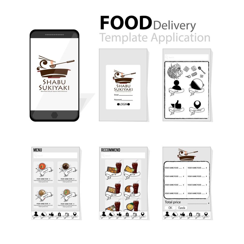 weiße und graue mobile japanische Lebensmittellieferung vektor