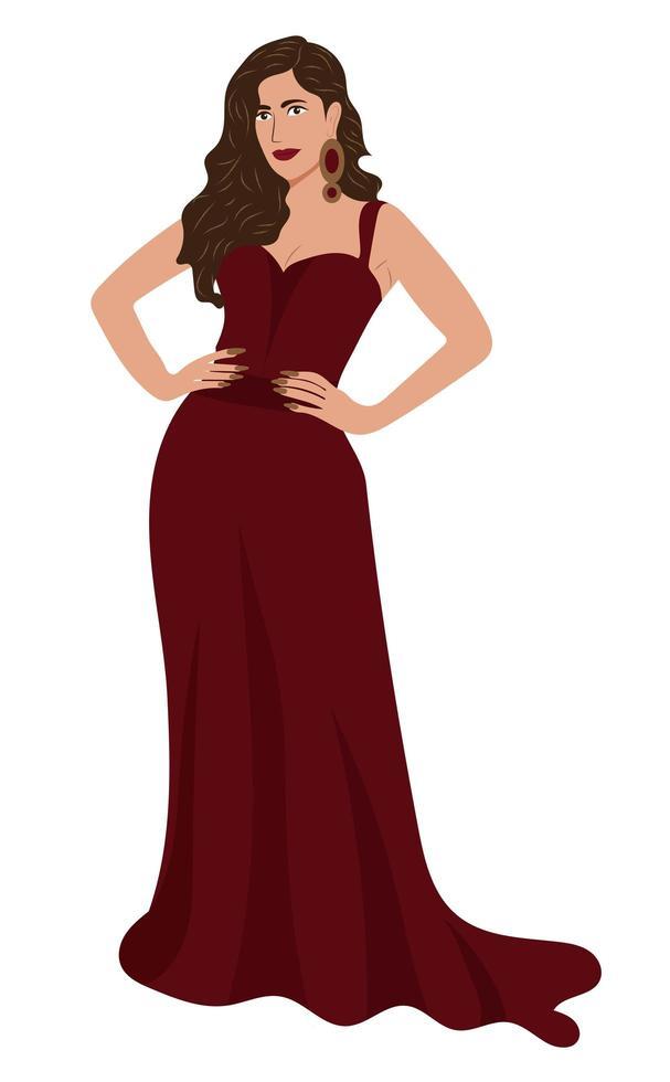 mode kvinna klädd i röd klänning vektor