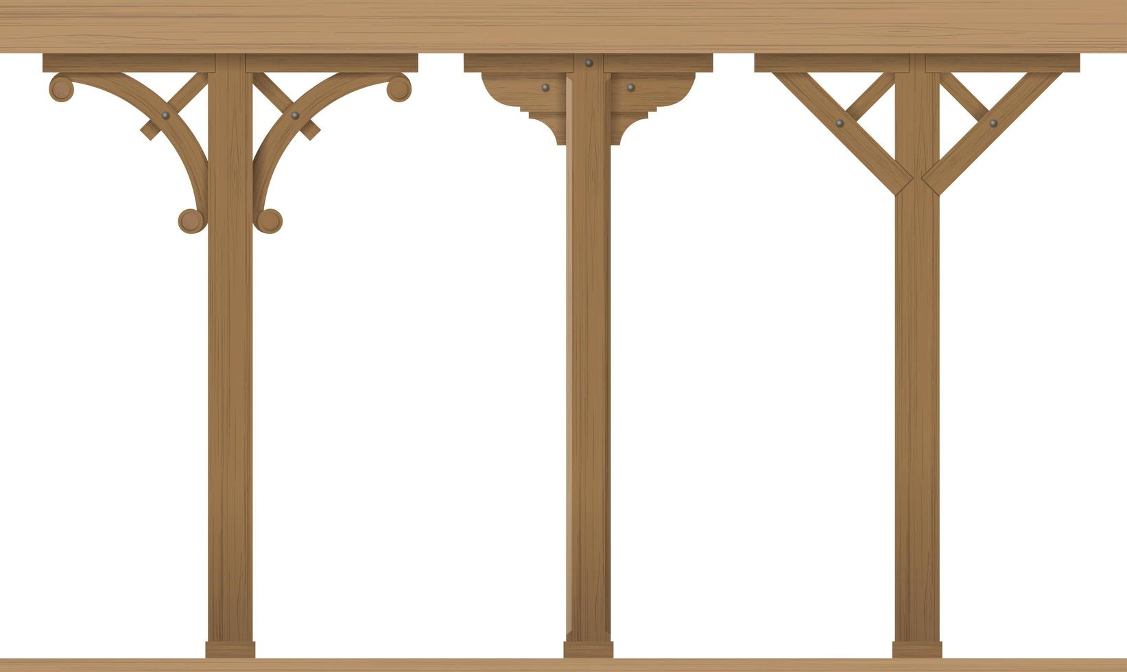 Satz Vintage hölzerne architektonische Säulen vektor