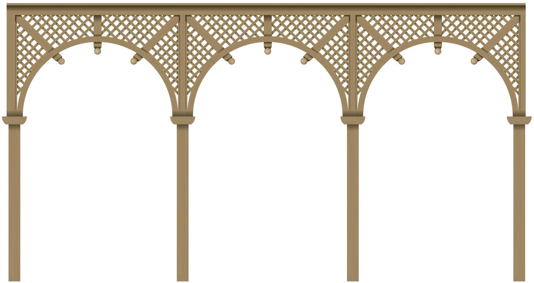 arkad klassisk träveranda med bågar vektor
